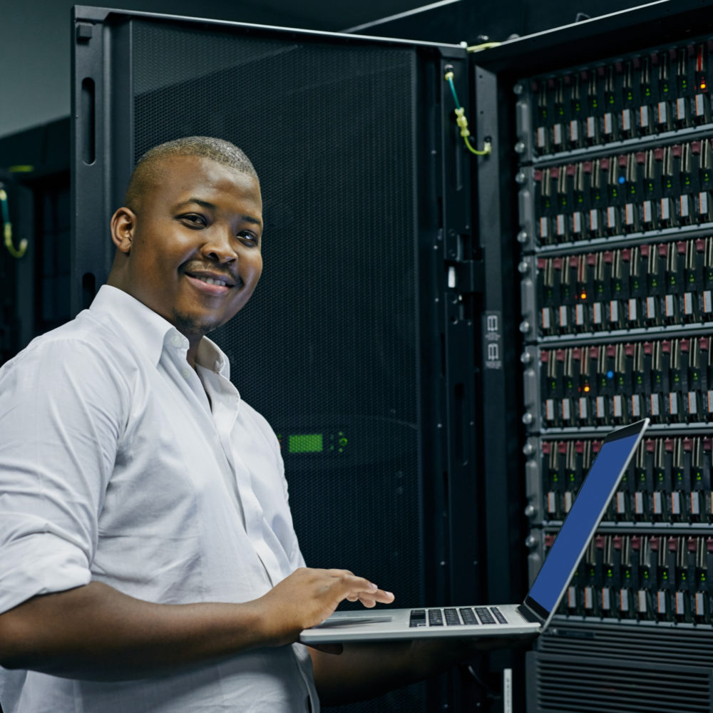 man representing server support companies